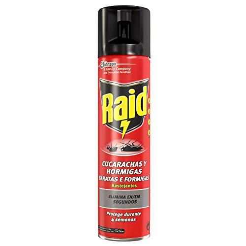Raid ® Spray Insecticida - Aerosol para cucarachas y hormigas. Protege durante 4 semanas. Acción fulminante, en apenas segundos. Unidad, 400ml