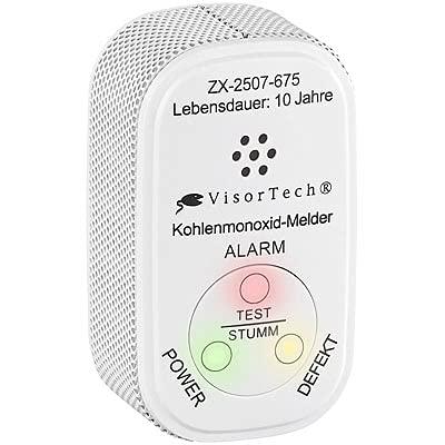 VisorTech CO Warner: Mini-Kohlenmonoxid-Melder mit 10-Jahres-Batterie, DIN EN 50291-1 (CO Sensor)