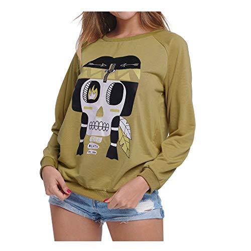 Toasye Frauen Gedruckt Runden Kragen Pullover Frauen-Druck-Karikatur-T-Shirt Spitzen-Damen LöSen Lange HüLsen-Spitzen-Strickjacke-Bluse