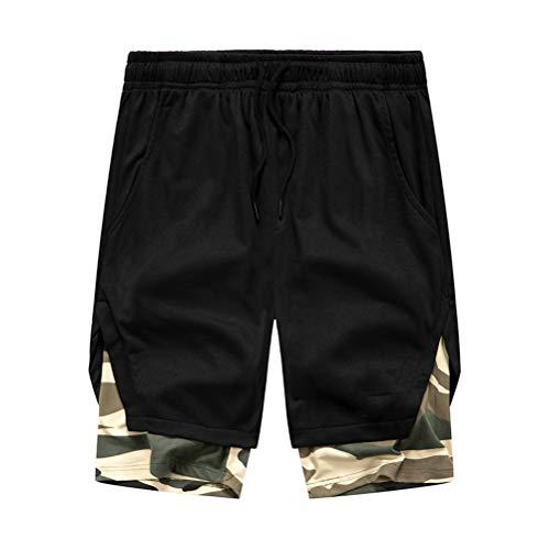 Whittie Été Couture Faux Deux Pièces Camouflage Contraste Couleur Shorts Hommes Respirant Pantalon De Sport Confortable,Black,XL