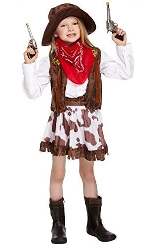 Fancy Me Mädchen Kinder Kinder Wildwest-Cowgirl Sheriff Halloween Kostüm Kleid Outfit 4-12 Jahre - Mehrfarbig, 10-12 Years