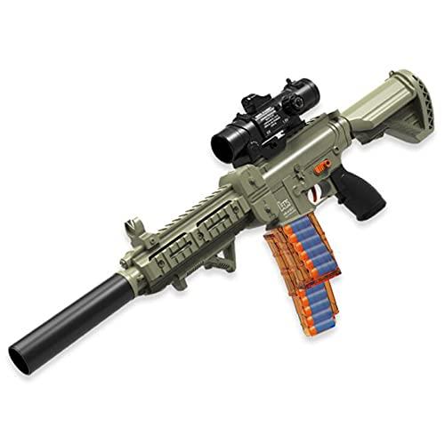 MINGJ Pistolas de Juguete Foam Blasters M416,Pistola Automática Eléctrica para Niños con 100 Balas Suaves, 2 Pinzas de Bala y Mira Ajustable,Green