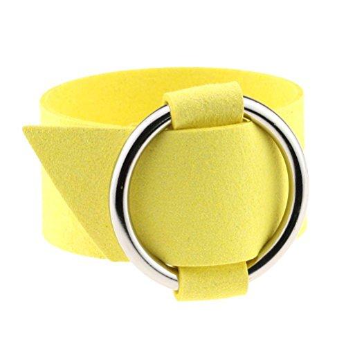 YiyiLai Fashion Damen Breite Armkette 25cm Länge/3.2cm Breite Armbänder Wickelarmbänder Armreifen Gelb