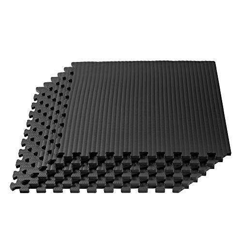 Velotas 1/2 Inch Thick EVA Foam Martial Arts Mat, Tatami Pattern, Interlocking Floor Tiles for Home Gym, MMA, Anti-Fatigue Mats, 24 in x 24 in, Black, Model: VT-24-13M