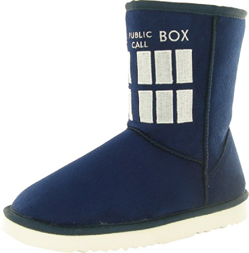 Doctor Who Women's Tardis Boot Slippers Small Navy Blue