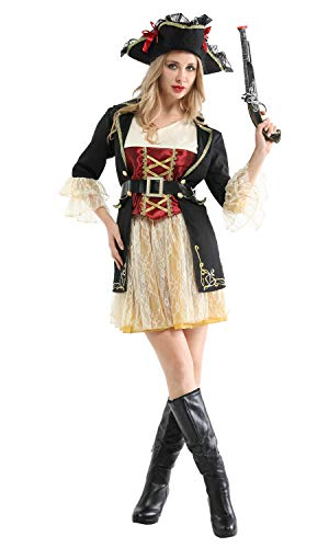 Shanghai Story Halloween Party Pirate Cosplay Costume Caribbean Pirates with Hat for Women Size S