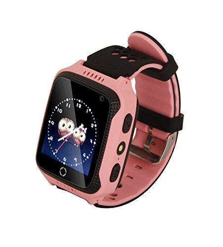 Hangang Reloj para Niños Pantalla Táctil Reloj GPS Niñas con GPS Pantalla Táctil Cámara SIM Llamadas Linterna Anti-perdida Reloj de Pulsera SOS Pulsera Inteligente para Niños, Niñas (M05 Rosa)