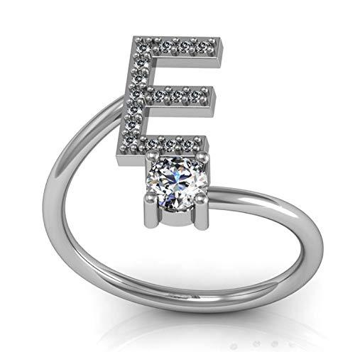 LYLLXL Offene Ringe Für Mann,Vintage Verstellbare Offene Silberne Buchstaben des Alphabets E-Form Inlay Zirkon Ring Schmuck Hochzeitsfeier Frauen Männer Paar