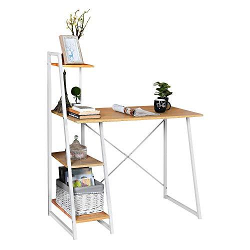 MEUBLE COSY Bureau Informatique Avec Rangement 4 étagères, Table d'ordinateur Poste de Travail, Bureau Enfant chêne , Chêne /104x50x128cm
