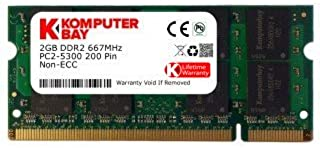 Komputerbay Arbeitsspeicher 2GB DDR2 667MHz PC2 5300 CL5 SO DIMM (200 PIN, für Notebooks) Laptop  SODIMM Speicher