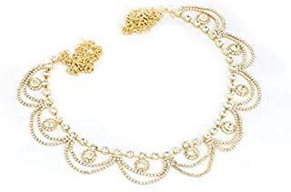 Project Luxe Beautiful Gold Plated Kamarband for Women and Girls - Waist Hip Chain with Pearls & Crystals