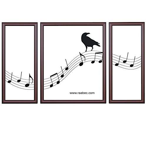 RAABEC Bilderrahmen Triptychon, Größe 80x50m / 50x80cm, Farbe Braun, ideal für Malen nach Zahlen Triptychon Bilder von Schipper oder Ravensburger
