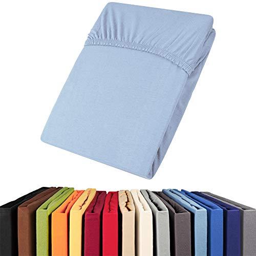 aqua-textil Viana Spannbettlaken 140x200 - 160x200 cm blau Baumwolle Spannbetttuch Jersey Laken