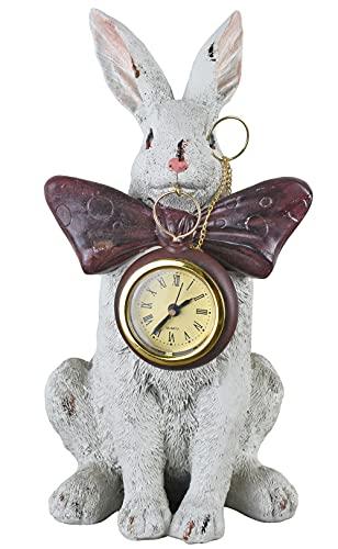 Kaminuhr weißes Kaninchen Alice im W&erland Tischuhr Shabby chic Uhr deko neu TVC028 Palazzo Exklusiv