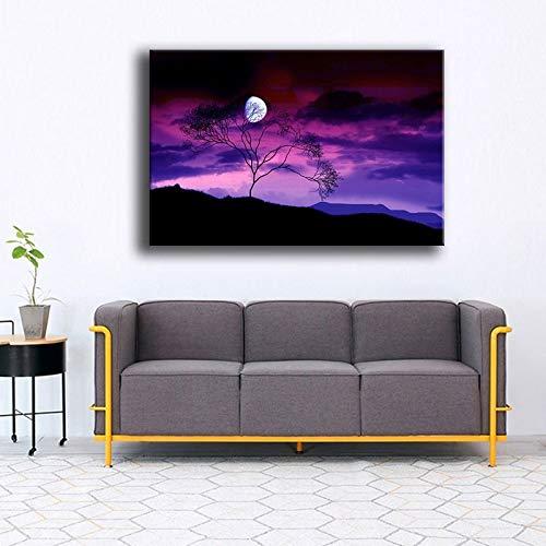ganlanshu Poster auf Leinwand von Lila Himmel Vollmond Nacht-Leinwand Kunstdrucke-für Kunstwerke Gedruckt auf Plakat Leinwand Malerei Wohnkultur Wohnzimmer-Rahmenlose Malerei60x90cm