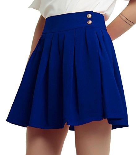 chouyatou Women's Double Waist Side Buttons Pleated Skirt (Small, Blue)