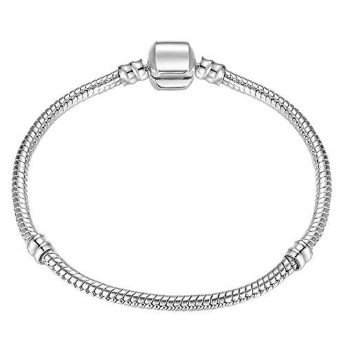 AMTBBK Brazalete De Plata De Ley 925, Charm Cadena De Serpiente Pulsera Wristlet, Jewelry Gift Madre Regalos para Mujer,18cm
