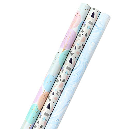 Hallmark Wrapping Paper Bundle with Cut Lines on Reverse - Blush, Gray, Blue, Gold (3-Pack: 55 sq. ft. ttl.) High Gloss & Metallic Prints for Mothers Day, Weddings, Baby Showers, Bridal Showers