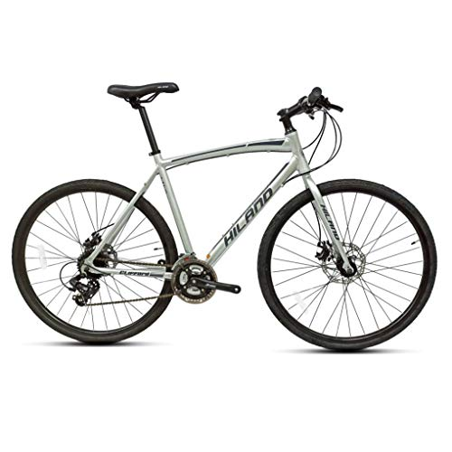 Hiland Road Hybrid Bike for Men Urban City Commuter Bicycle Silver S