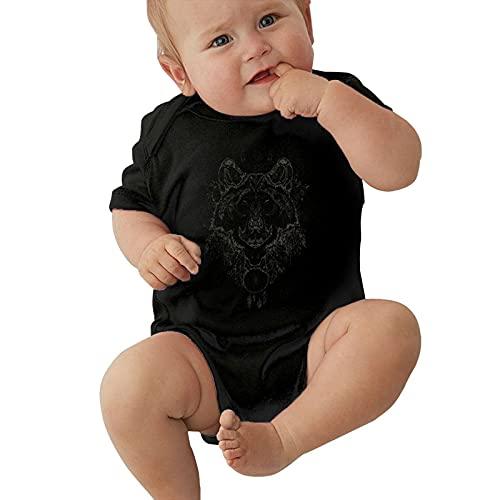 Inaayayi Enterizo de bebé retro Personalidad atrapasueños y lobo Arte de medianoche Póster de bebé Body de bebé para niños y niñas