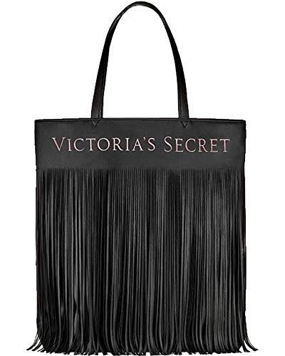 Victoria's Secret Limited Edition BLACK Faux Leather Flirty Fringe TOTE BAG NEW