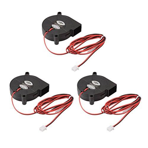 UEETEK 3 PCS 5015 DC 12V 0.18A Lüfter für 3D-Drucker, Turbine Gebläse Kühlerlüfter, ideal für Kühlung Kühlkörper am heißen Ende, 3D Drucker Zubehör, schwarz