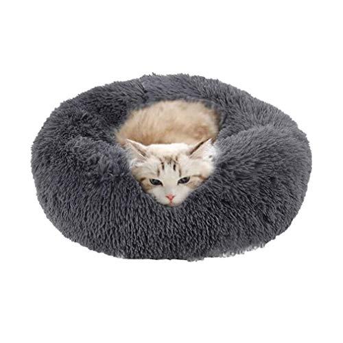 Cozywind rundes Haustierbett für kleinen Hund und eine Katze Hellbraun Warmes Kissen oder deluxes Bett mit Weichen Plüsche in Doughnut-Form (50CM, Grau)