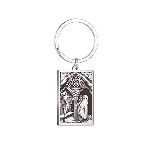 Pentáculos Tarot Card Colgante Llavero Accesorios de joyería de Acero Inoxidable para Hombres Mujeres Llavero de Plata