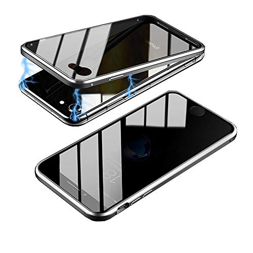 HikerClub Magnetic Adsorption Case Full Body Protection Built-in Screen Protector Front and Back Double Sided Glass Anti Scratch Luxury Metal Bumper Case (Silver/Privacy, iPhone 6 / 6S)