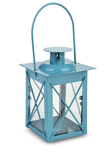 WGI Turquoise Square Hurricane Tea Light Candle Lantern Novelty (Set of 2)