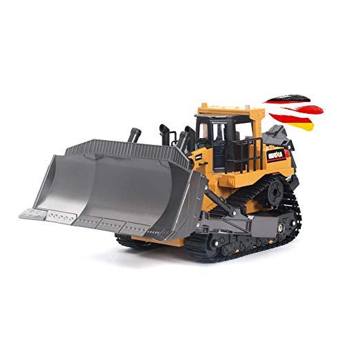 Himoto HSP RC Ferngesteuerter Bulldozer mit steuerbarer Schaufel, Fahrzeug-Modell mit Akku und 2.4GHz, Sound und LED's für mehr Spielspaß, Planierraupe Maßstab 1:16 Modellbau