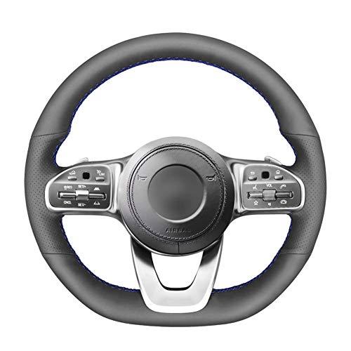 XLZWRJ Cubierta del Volante de Cuero Negro Cosida a Mano, para Mercedes-Benz Clase A W177 Clase C W205 Clase E W213 Clase S