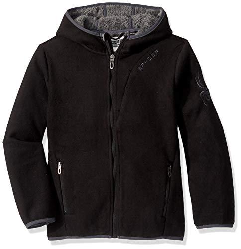 Spyder Kapuzenjacke für Jungen mit Sherpa-Futter, Polar-Fleece-Jacke, Oberbekleidung, schwarz, L14/16