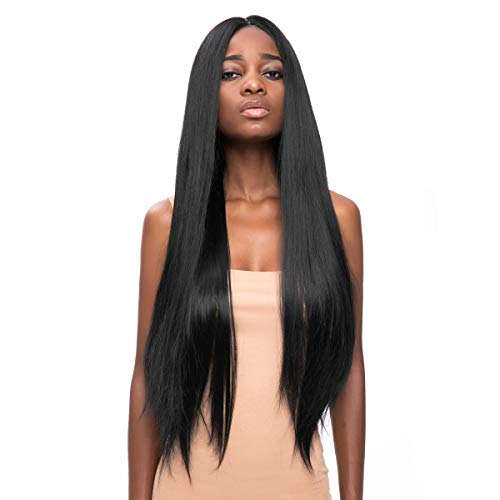 WELLKAGE 29inches Long Straight Black Synthetic Lace Front Wigs for Women Heat Resistant Wig