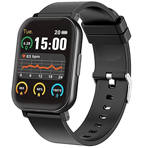 Smartwatch Reloj Inteligente para Mujer y Hombre Banda Inteligente 1.65' Pantalla Táctil Completa Pulsera Deportivo Impermeable con Monitor de Frecuencia Cardíaca/Cálculo de pasos/Recordatorio de Mensajes