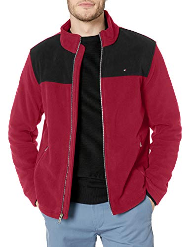 Tommy Hilfiger Men's Classic Zip Front Polar Fleece Jacket, black/Red, L