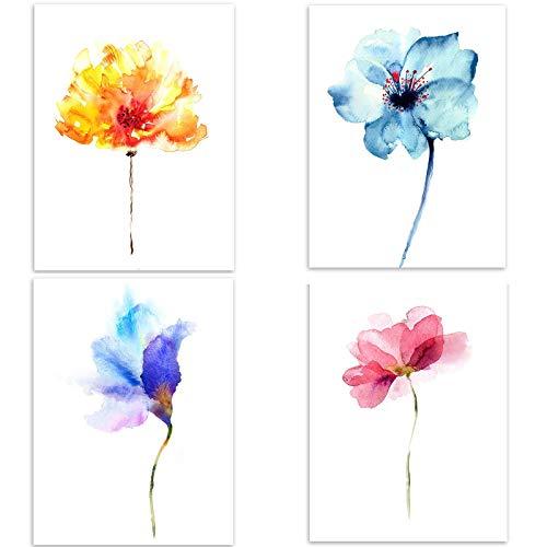 4 Stück Poster Blumen in vier Farben Lebhafter und energischer Stil, A4 (21x30cm), Ohne Bilderrahmen, Deko Wand Bild, Dekoration Wohnung modern, Zimmer Deko, Leinwandbild Kunstdruck