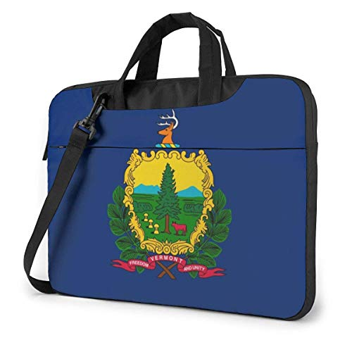 15.6 inch Laptop Shoulder Briefcase Messenger Vermont VT State Flags Tablet Bussiness Carrying Handbag Case Sleeve