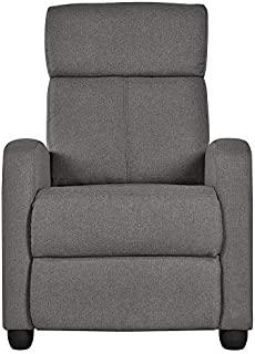 Topeakmart Fabric Recliner Sofa Push Back Recliner Chair Adjustable Modern Single Reclining Chair Upholstered Sofa with Pocket Spring Living Room Bedroom Home Theater Light Gray