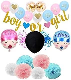 Gender Reveal Party Supplies Party Value Pack - 64 Pieces - Baby Shower Decoration Set/Kit with Boy or Girl with Banner, Black Balloon and Confetti, Pompom, Foil Balloons, Cupcake Toppers, Photo Booth Props by Choninc