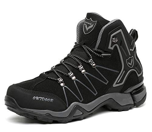 Kinder Wanderschuhe Jungen Wanderstiefel Mädchen Outdoor Trekking Schuhe rutschfeste Mid Trekkingstiefel für Unisex Herren Damen Schwarz gr 43