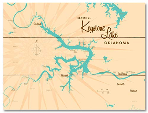 Keystone Lake Oklahoma Map Wood Art Print by Lakebound 18' x 24'