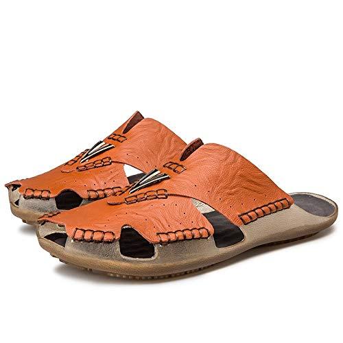 TXHLKD Neue Sommermode große Pantoffeln Schuhe Männer Casual Strand Flache Sandalen Schuhe männlich Atmungsaktive Pantoffeln Alias 38 Schokolade