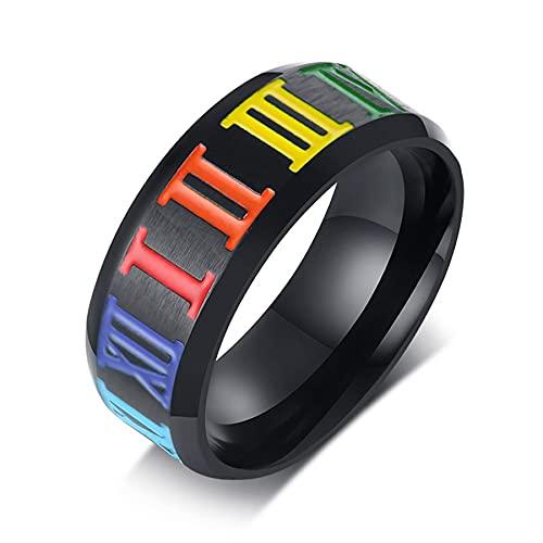 Anillos de números romanos arcoíris de acero inoxidable LGBT, anillos de amor para parejas, anillos de Orgullo Gay para hombre, anillo para niño, joyería de boda para hombres 7 Multi