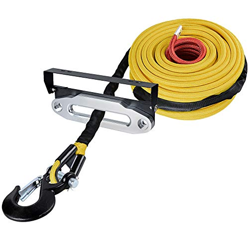 For Sale! Astra Depot 95ft x 3/8 Yellow UHMWPE Winch Rope 22,000lbs All Rock Guard + Black Clevis W...