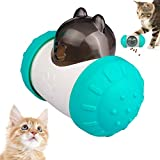 【2021 Upgraded】 Swing Bear Cat Treat Dispenser Toy, Heavy Duty Roller Cat Puzzle Feeder Toy, Food Dispensing Kitten Toys for Dog and Cat Food Puzzle Interactive (Turquoise)