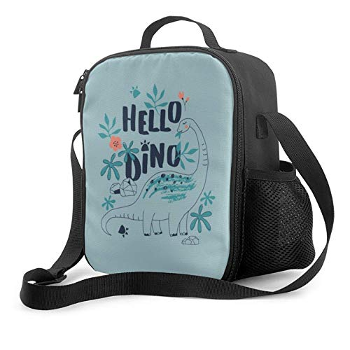 IUBBKII Bolsa de almuerzo con aislamiento Hello Dino Insulated Lunch Bag, Leakproof Flat Lunch Cooler Tote with Shoulder Strap for Men and Women, Suitable for Work Office