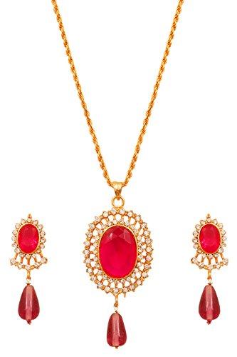 Touchstone Bollywood - Juego de colgante para mujer (chapado en oro, piedras blancas y fucsia)
