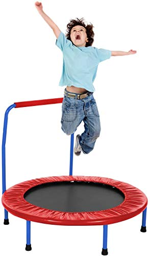 ANCHEER Kids Trampoline - 36 inch Fitness Trampoline with Handle bar, Foldable Jumping Cardio Trainer Workout for Adults or Children (red)
