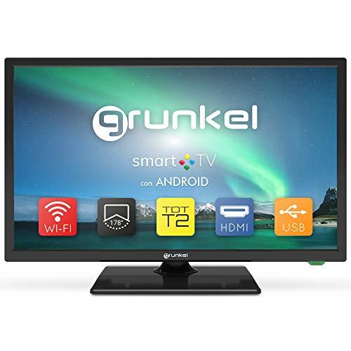 Grunkel - LED-240ASMT - Televisor LED HD Ready, Smart TV, Wi-Fi, Modo Hotel, Auto-Apagado y TDT Alta Definición Fabricado en España - 24 Pulgadas - Negro